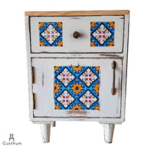 Load image into Gallery viewer, Jasmine - Distressed Solid Wood Side Table with Embedded Tiles