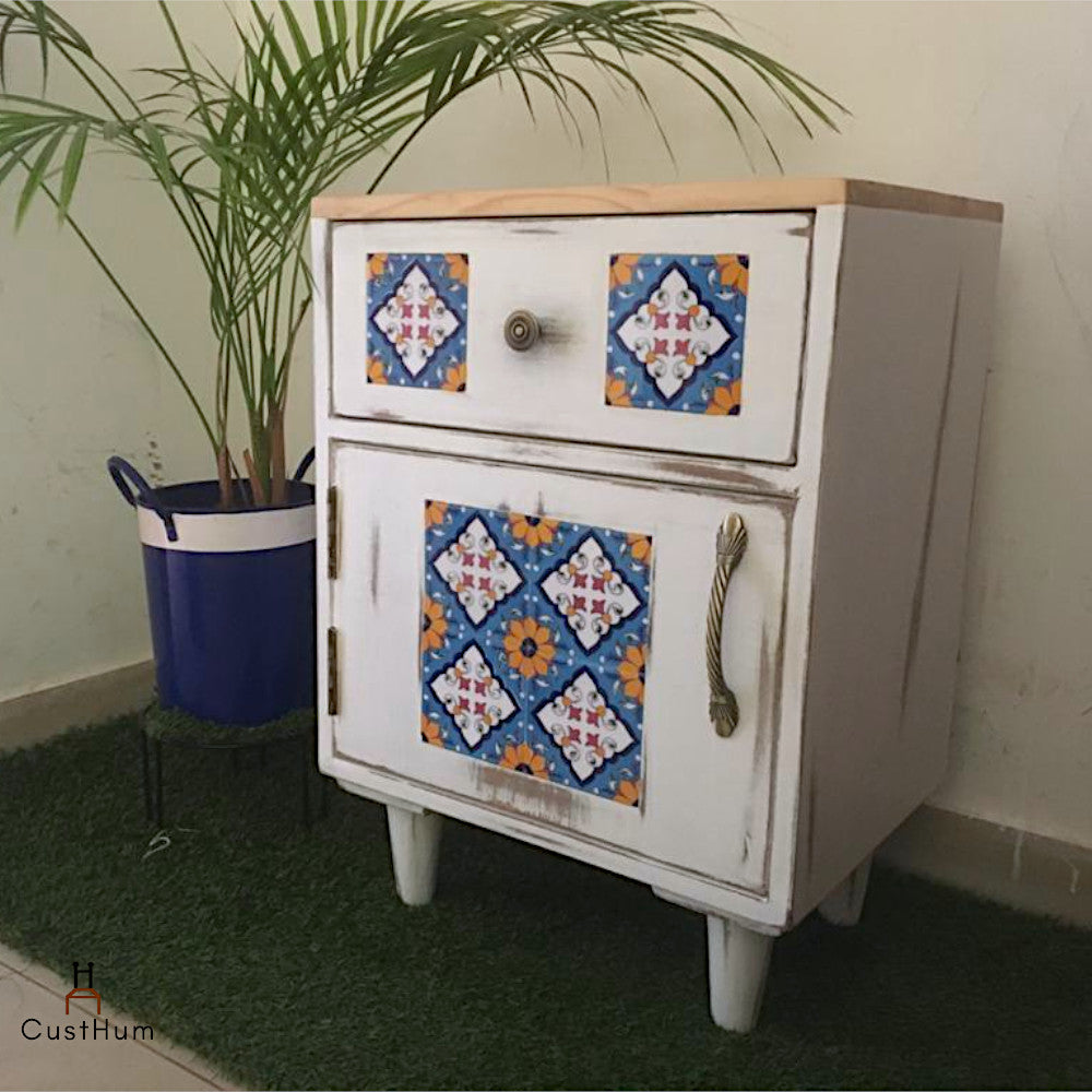 Jasmine - Distressed Solid Wood Side Table with Embedded Tiles
