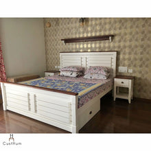 Load image into Gallery viewer, CustHum-Marbella-Farmhouse style solid wood cot with removable storage-setup