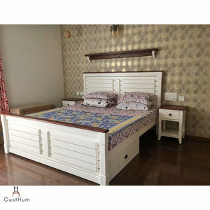 CustHum-Marbella-Farmhouse style solid wood cot with removable storage-setup