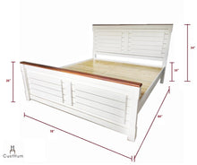 Load image into Gallery viewer, CustHum-Marbella-Farmhouse style solid wood cot with removable storage-dimensions-king