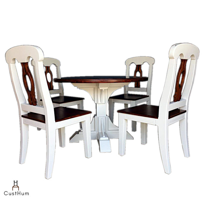 CustHum-Olive-4 seater solid wood round dining set-01