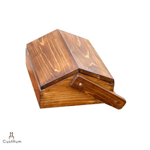 CustHum-Stash-solid pinewood table top tuck box with wooden handle (closed view)