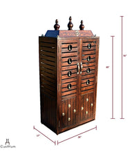Load image into Gallery viewer, CustHum-Prarthana-compact puja mandir with stowable stool-dimensions