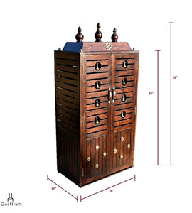 CustHum-Prarthana-compact puja mandir with stowable stool-dimensions