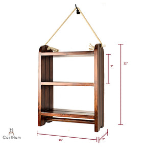 CustHum-Roma-rustic farmhouse style rope shelf-dimensions