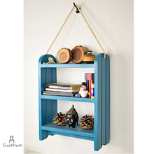 Load image into Gallery viewer, CustHum-Roma-rustic farmhouse style rope shelf-blue