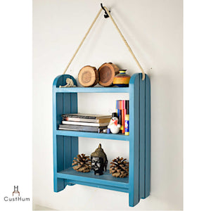 CustHum-Roma-rustic farmhouse style rope shelf-blue