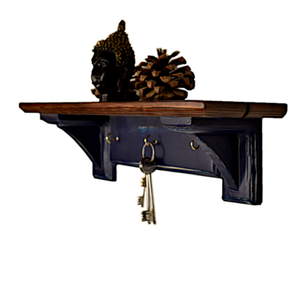 CustHum-Sistine-corbel shelf (in blue and teak tones), with hooks to hang keys, masks