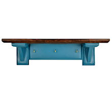 Load image into Gallery viewer, CustHum-Sistine-corbel shelf (teal), with hooks to hang keys, masks (front view)