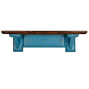 CustHum-Sistine-corbel shelf (teal), with hooks to hang keys, masks (front view)