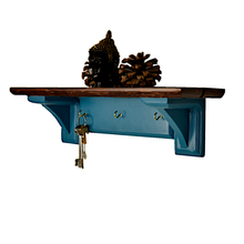 Load image into Gallery viewer, CustHum-Sistine-corbel shelf (teal), with hooks to hang keys, masks