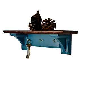 CustHum-Sistine-corbel shelf (teal), with hooks to hang keys, masks
