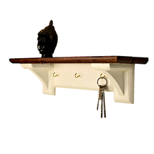 Load image into Gallery viewer, CustHum-Sistine-corbel shelf (in white and teak tones), with hooks to hang keys, masks