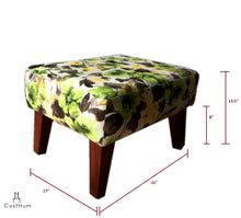 Load image into Gallery viewer, CustHum-Smial-upholstered solid wood ottoman-dimensions