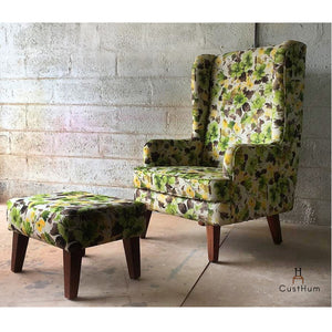 CustHum-Smial in Mirkwood-upholstered solid wood wing chair plus ottoman-01