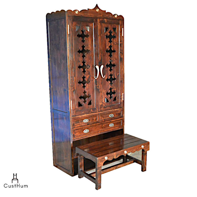 CustHum-Stuti-large puja cabinet with stowable bench-01