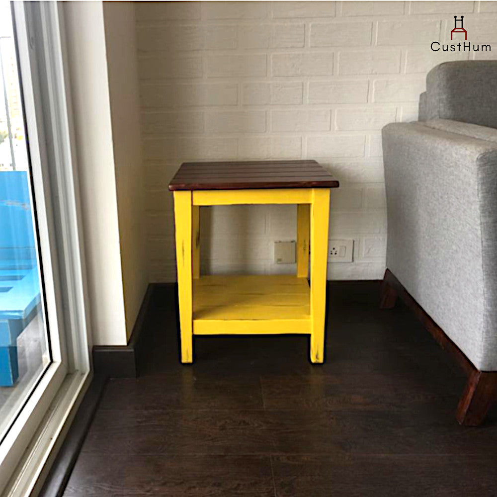 CustHum-Vasanth-solid wood side table-at customers