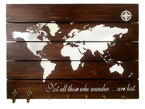 CustHum-Wanderer-world map wall board-with keyholder