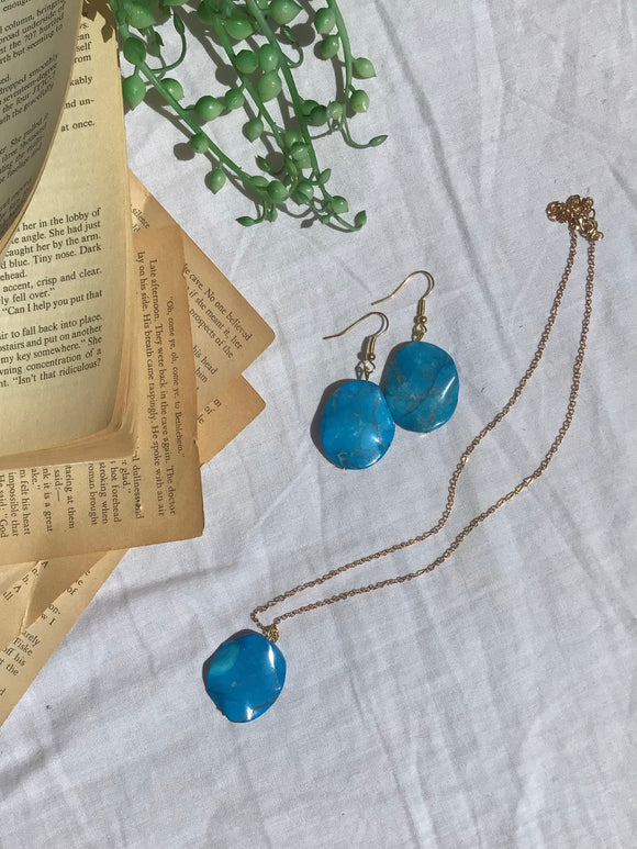 Ocean Oval Earrings & Necklace