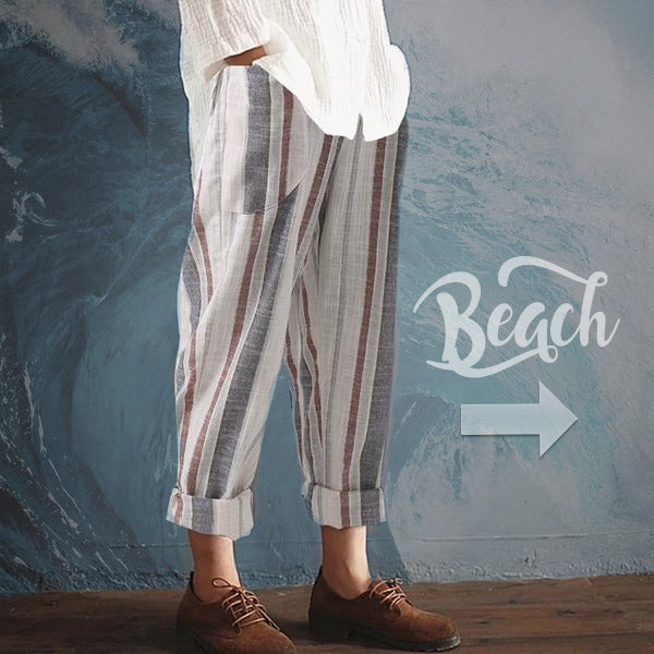 SALE Women's Casual Boho Chic Loose Linen Beach Pants - Tropical Island Nautical Bohemian Capri Striped Ankle Pants - FREE Shipping - Fashion-Beach.com
