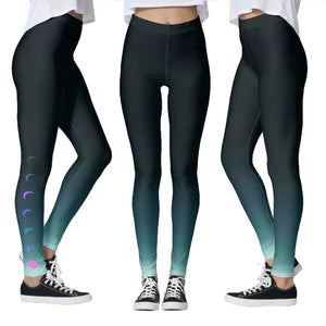 Blue Ombre Moon Phase Workout Yoga Leggings *Capri *Wide Waistband *Regular Style Athletic Blue Gradient Tights Pants - FREE Shipping - Fashion-Beach.com