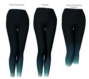 Blue Ombre Moon Phase Workout Yoga Leggings *Capri *Wide Waistband *Regular Style Athletic Blue Gradient Turquoise Tights Pants - FREE Shipping - Fashion-Beach.com
