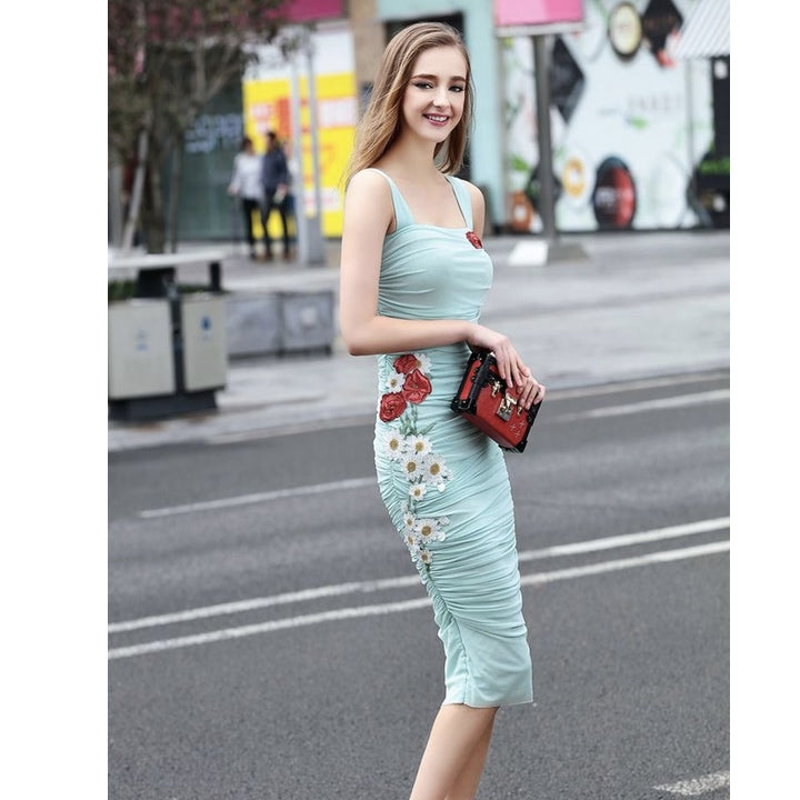 Women's Beautiful Aqua Blue Sexy Floral Dress - Fashion-Beach.com