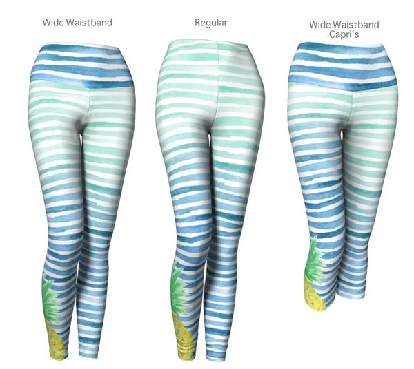 Quality Tropical Pineapple Striped Leggings Hawaii Ombre Watercolor Ocean Workout Yoga Tights *Wideband *Capri or *Regular - FREE Shipping - Fashion-Beach.com