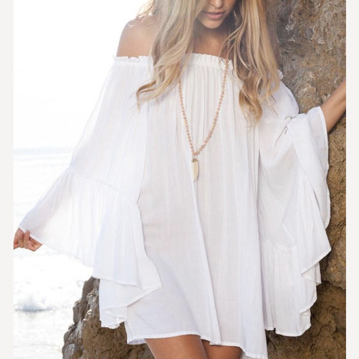 Women's Sexy Off The Shoulders Sheer Boho Kaftan Swimsuit Cover Up