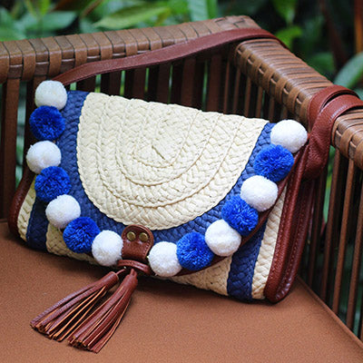 SALE Women's Beautiful Boho Chic Bali Style Handmade Straw Purse - Tropical Island Nautical Clutch Shoulder Bag - Tassel Pompom Blue White Envelope Bag - FREE Shipping - Fashion-Beach.com