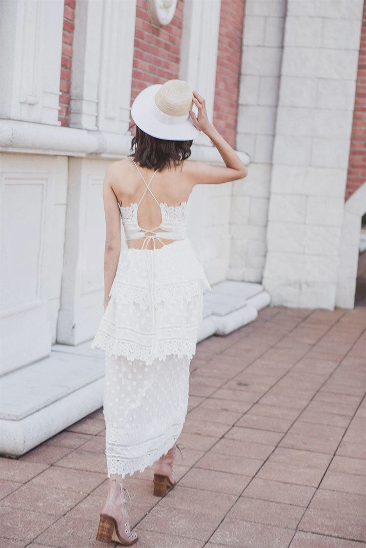 SALE Women's Long Boho Chic Open Back Lace Maxi Dress White or Black Bohemian Vintage Strappy Cocktail Summer Fashion Dress - FREE Shipping - Fashion-Beach.com