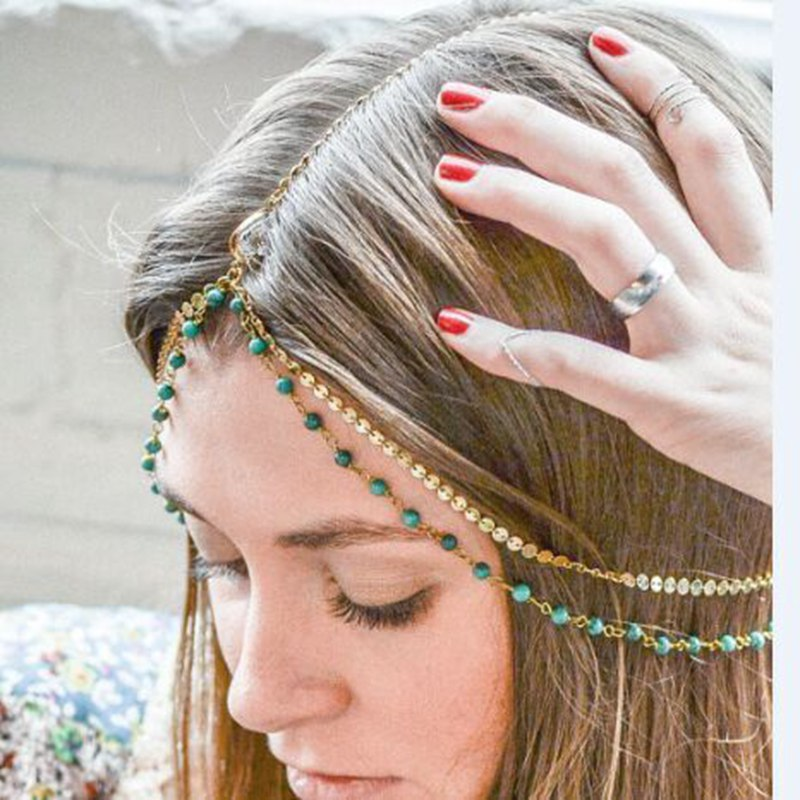 Women's Beautiful Boho Charm Hair Jewelry Headband - Fashion-Beach.com