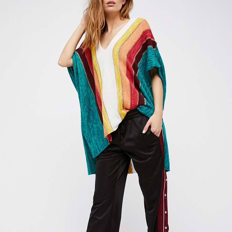 Women's Fun Rainbow Long Sweater Swimsuit Cover Up - Fashion-Beach.com