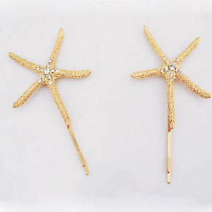 Women's Gold Rhinestone Starfish Tropical Hairpins - Fashion-Beach.com