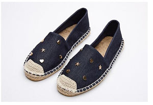 Women's Fun Stars Espadrille Flat Hemp Loafer Shoes - Fashion-Beach.com