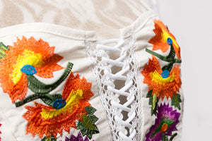 Women's Boho Corset Embroidered Crop Top - Fashion-Beach.com