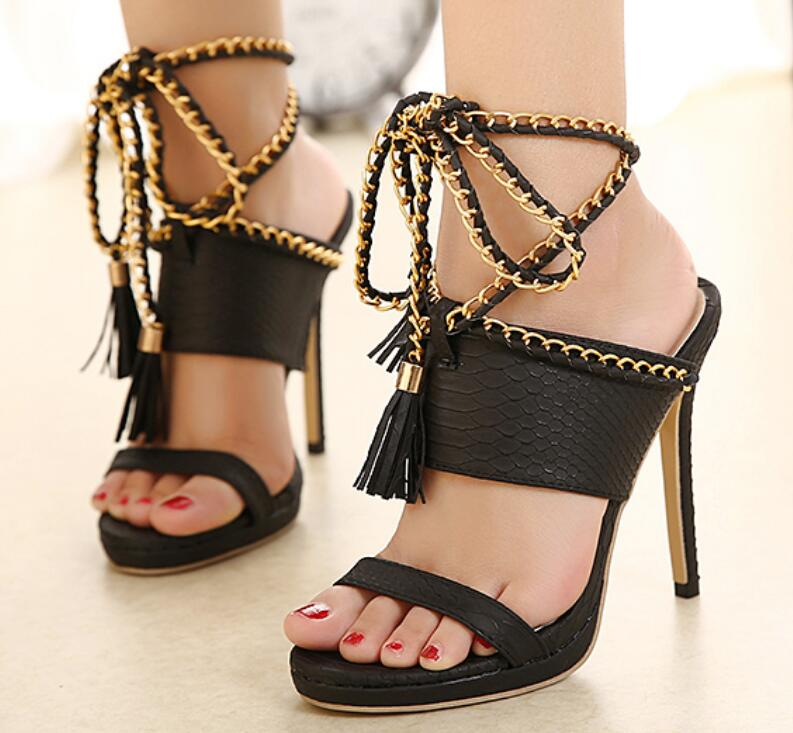 Women's Sexy Black Ankle Strap Wrap Gladiator High Heel Open Toe Strappy Fashion C hain Tassel Sandals Shoes - Fashion-Beach.com