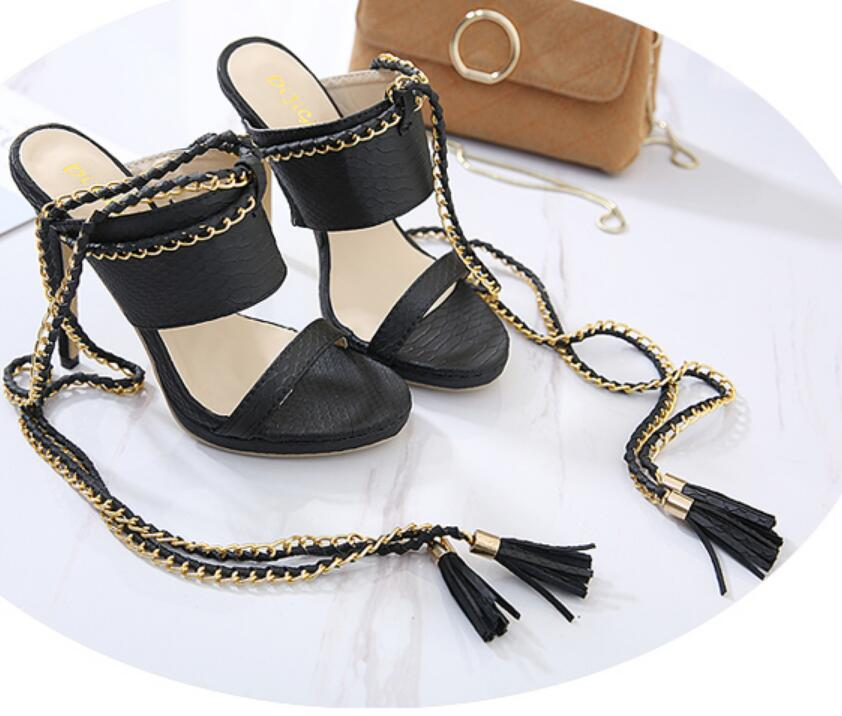 Women's Sexy Black Ankle Strap Wrap Gladiator High Heel Open Toe Strappy Fashion Chain Tassel Sandals Shoes Shop Store Buy - Fashion-Beach.com