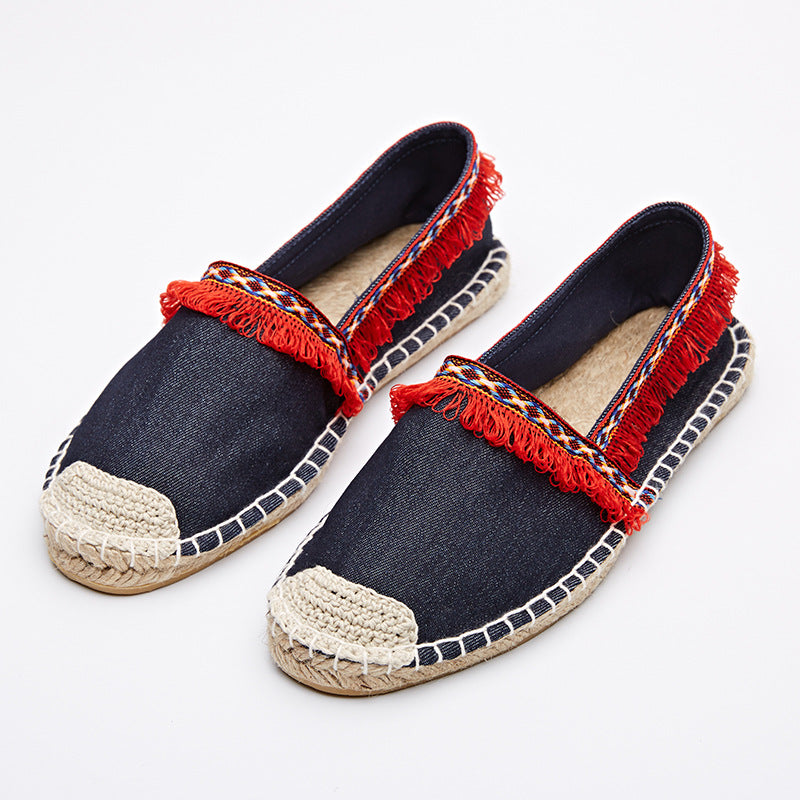 Women's Red Tassel Tribal Espadrille Shoes - Fashion-Beach.com