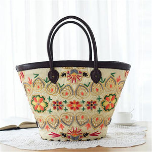 SALE Women's Bali Style Boho Chic Embroidered Straw Tote Bag - Beautiful Tribal Beige and Orange Tropical Beach Purse - Free Shipping - Fashion-Beach.com