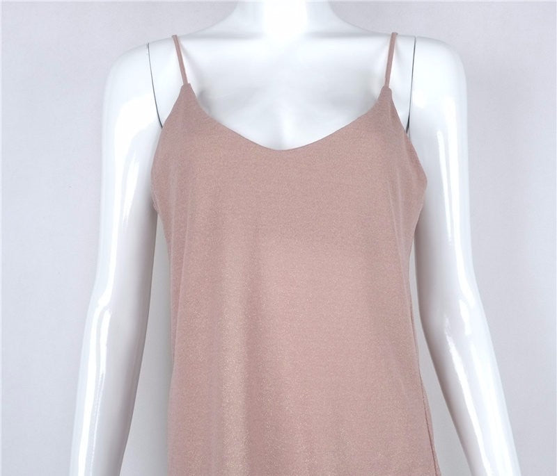 6b6ad1692f3a8a SALE Women s Knitted Boho Spaghetti Strap Tank Top Sexy Rose Beige Casual  Cami Shirt - Free