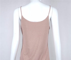 SALE Women's Knitted Boho Spaghetti Strap Tank Top Sexy Rose Beige Casual Cami Shirt - Free Shipping - Fashion-Beach.com