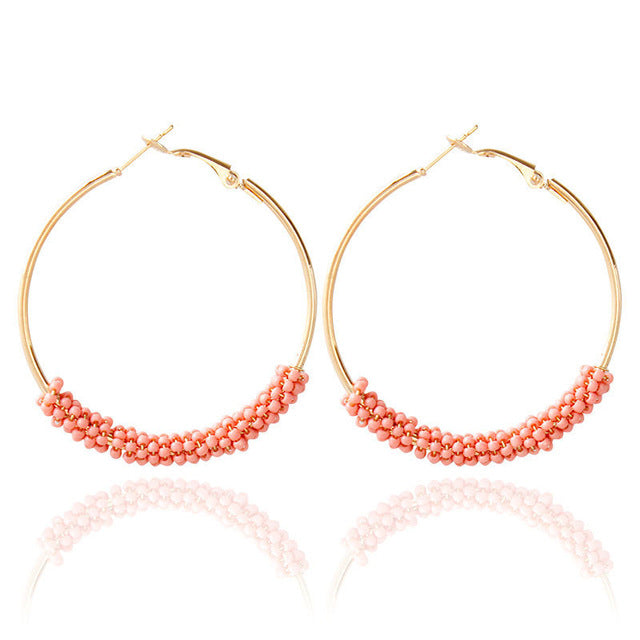 Women's Beautiful Beaded Boho Hoop Earrings - Fashion-Beach.com