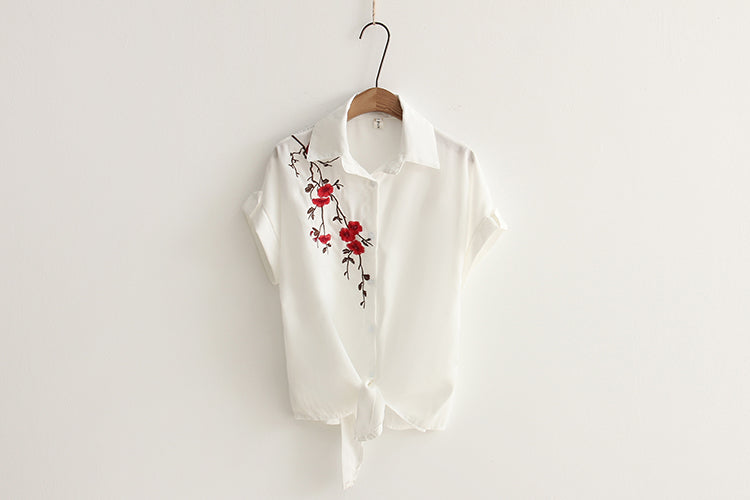 Women's White Embroidered Tie Front Shirt - Fashion-Beach.com