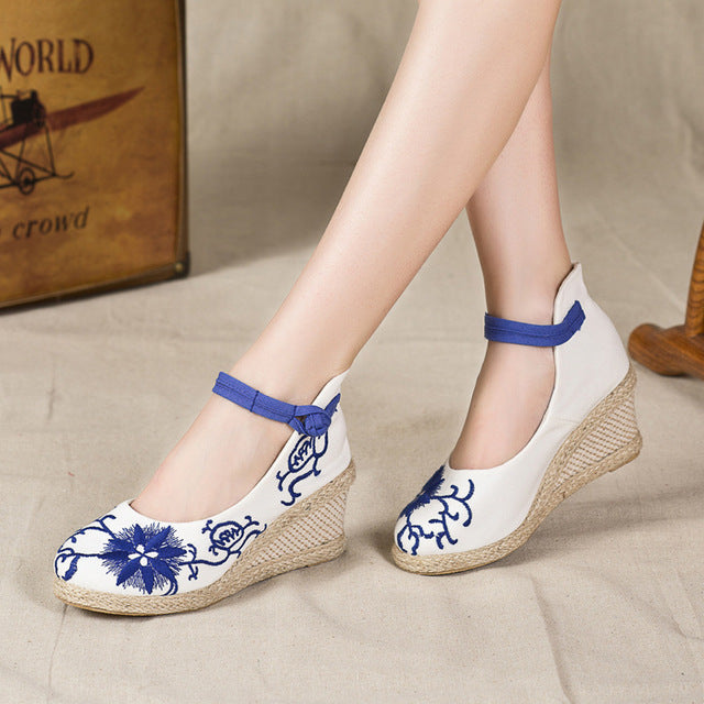 Veowalk Ankle Strap Women Flower Embroidered  Canvas Wedge Med Heel Shoes Elegant Ladies Casual Cotton Mary Jane Platform Pumps - Fashion-Beach.com
