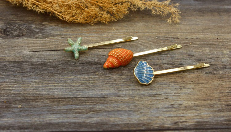 Women's Tropical Seashell Hair Bobby Pin Set - Fashion-Beach.com