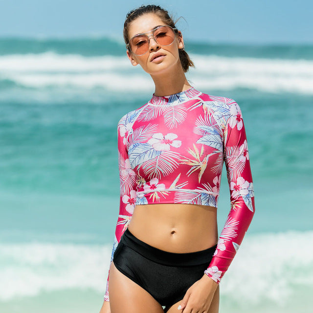 Women's Fun Long Sleeve Bikini Swimsuit Set - Fashion-Beach.com