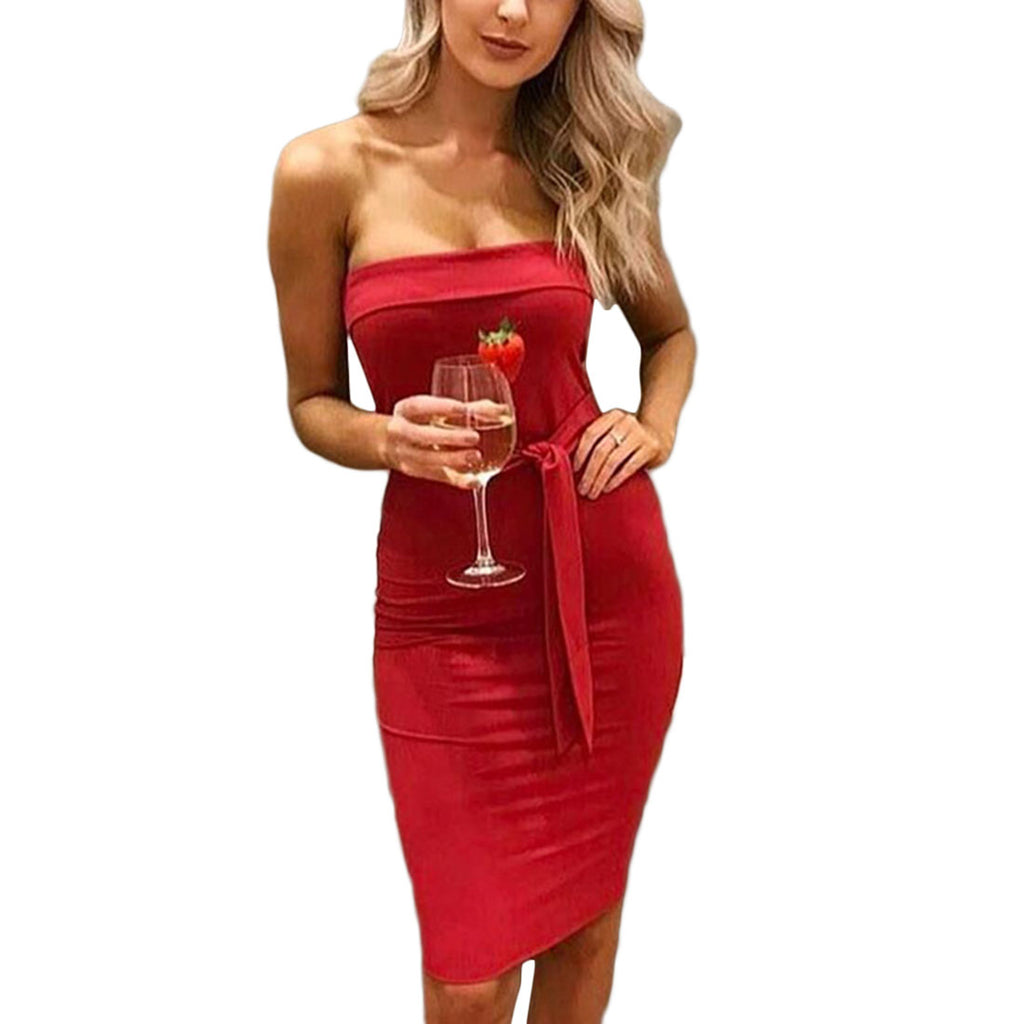 Women's Sexy Strapless Bodycon Dress - Fashion-Beach.com