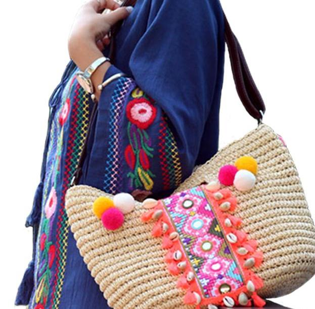 SALE Women's  Beautiful Tassel Boho Chic Beach Hobo Purse  Pompom Weaved Straw Seashell Tribal Ethnic Fringe Handbag Purse - FREE Shipping - Fashion-Beach.com